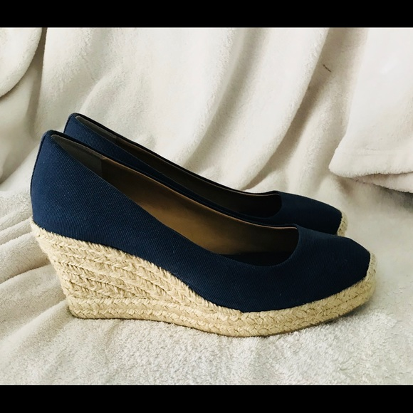 d7255ef53cf J. Crew Shoes - J.Crew Seville wedge navy blue espadrilles canvas